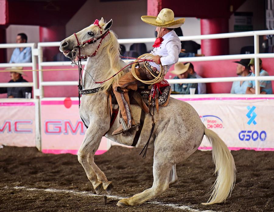 Alberto Mora derribando una de sus dos manganas a caballo por Rancho El Quevedeño de Nayarit