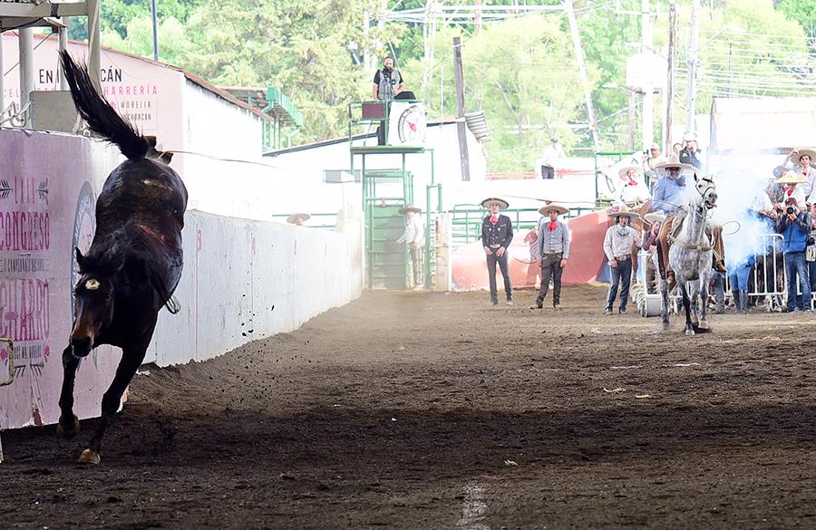 """Guillermo Muñoz Ledo Oliveros, que fue campeón nacional y homenajeado en este Nacional Charro, acertó tres piales en el lienzo para Apaseo El Grande """"B"""""""