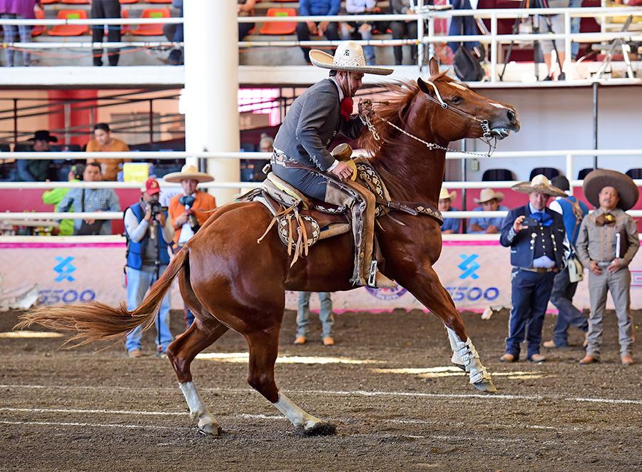 Lorenzo Ríos ejecutando el medio izquierdo, durante la cala de caballo de Rancho Las Cuatas