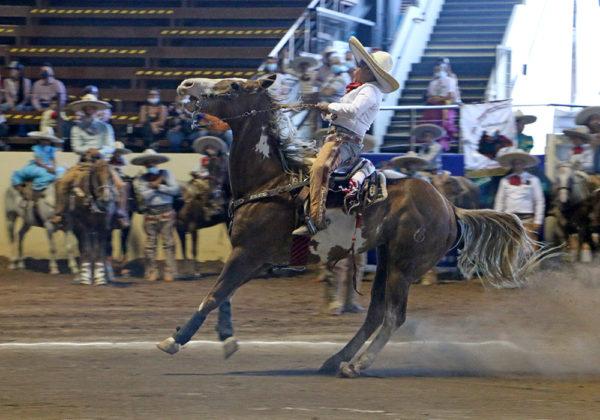 Santiago Emmanuel Valdez Beltrán presentando la punta, parte de la cala de caballo de Rancho San Ramón de Zacatecas