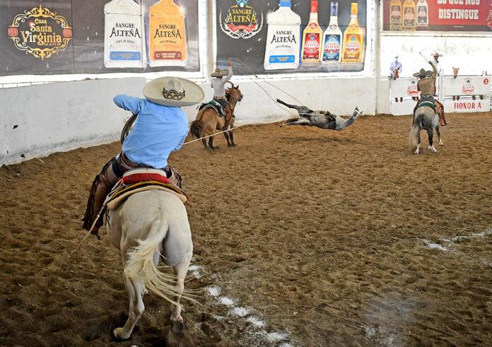 Juan Rodolfo Charre acertó esta mangana a caballo para asegurar la victoria en la primera competencia del Charro Mayor en Cinco Faenas
