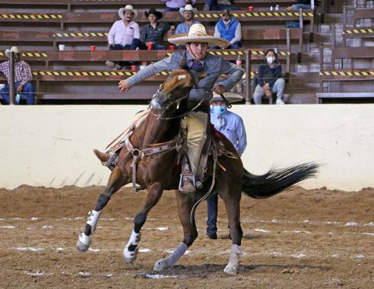 Bulmaro Erick Leal Villeda ejecutando un medio lado, durante la cala de caballo de Rancho Los Nogales