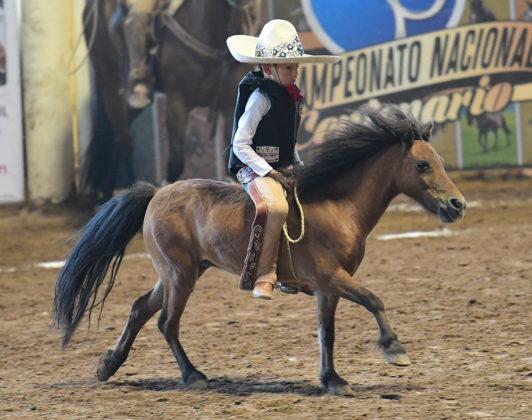 El pequeño Horacio Daniel González Haro jineteó este ejemplar equino, para Rancho Rivera de Jalisco