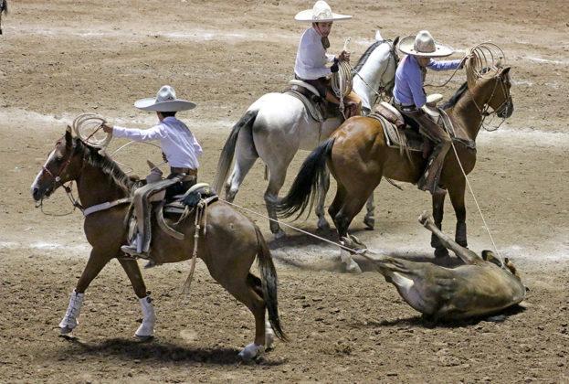 Emiliano Ríos Hernández y Christopher Arriola Olvera rindiendo al toro en la terna de los Bravos de Azuela