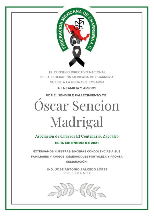✞ Oscar Sención Madrigal