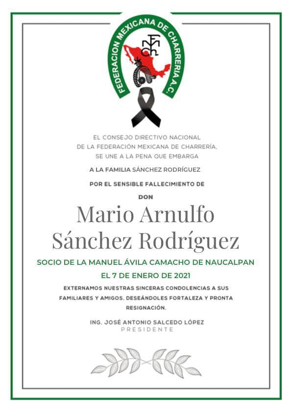 ✞ Mario Arnulfo Sánchez Rodríguez